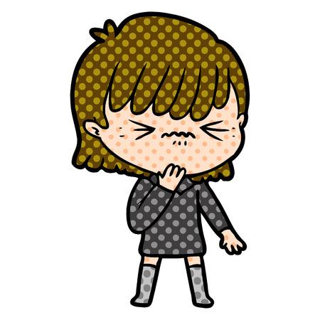 cartoon girl regretting a mistake Vector illustration. Illustration