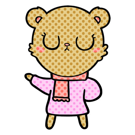 peaceful cartoon bear wearing scarf Vector illustration.