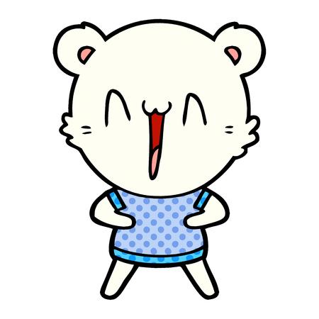 happy polar bear cartoon Vector illustration.
