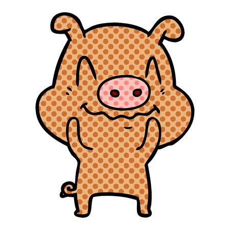 神経質な漫画豚のベクトルイラスト。