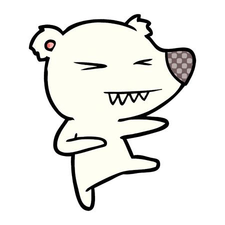 kicking polar bear cartoon Vector illustration. Çizim