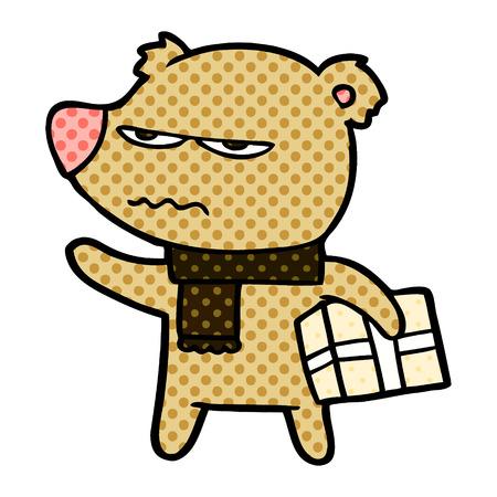 Angry bear cartoon gift illustration on white background.