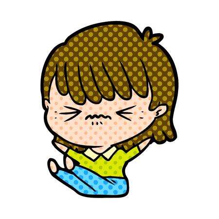 annoyed cartoon girl falling over Vector illustration. Иллюстрация