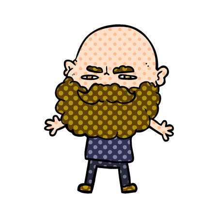 cartoon man with beard frowning Vector illustration.