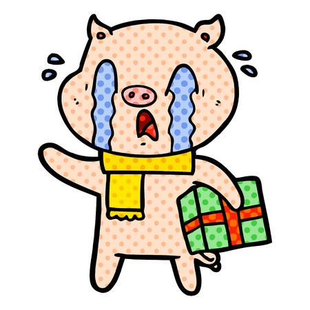 クリスマスプレゼントベクターイラストを配信泣く豚漫画。