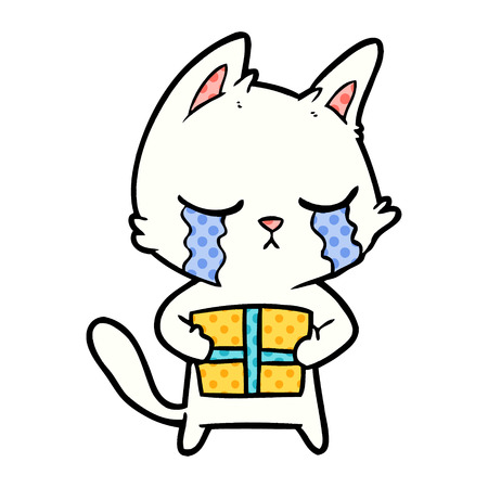 crying cartoon cat holding christmas present Vector illustration. Banque d'images - 95659113