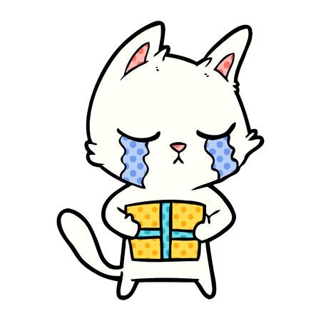crying cartoon cat holding christmas present Vector illustration. Illustration