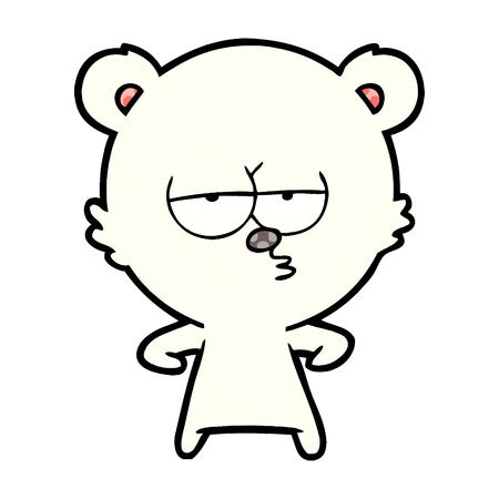 bored polar bear cartoon Vector illustration. Ilustração