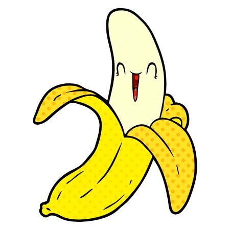 cartoon crazy happy banana Vector illustration.