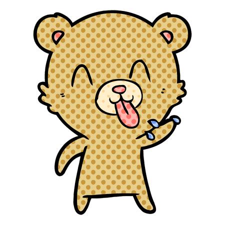 rude cartoon bear Vector illustration. Illustration