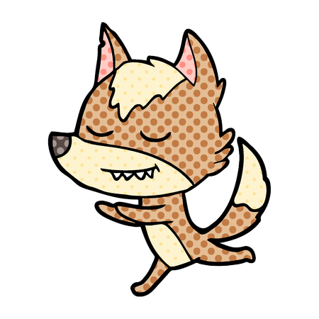 흰색 배경에 그림을 실행하는 친절 한 만화 늑대. 일러스트