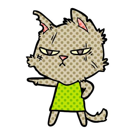 tough cartoon cat girl pointing Vector illustration.
