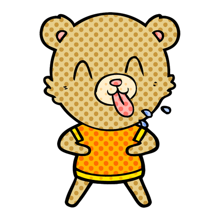 rude cartoon bear Vector illustration. 일러스트