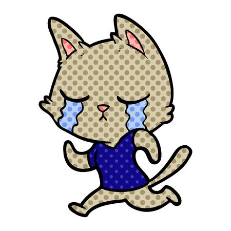 crying cartoon cat running away Vector illustration.