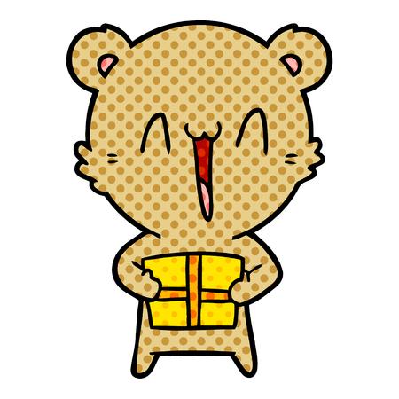 Happy bear with gift cartoon illustration on white background. Illustration