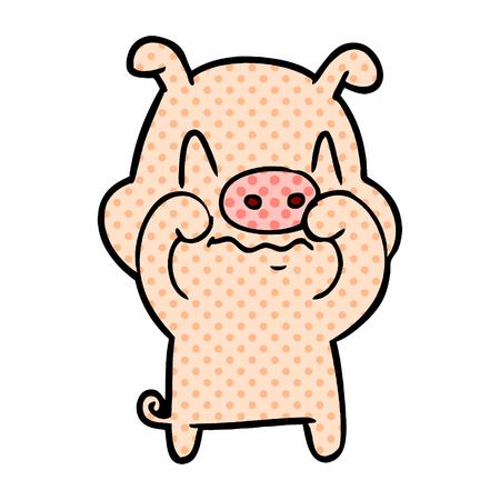 Nervous cartoon pig illustration on white background.