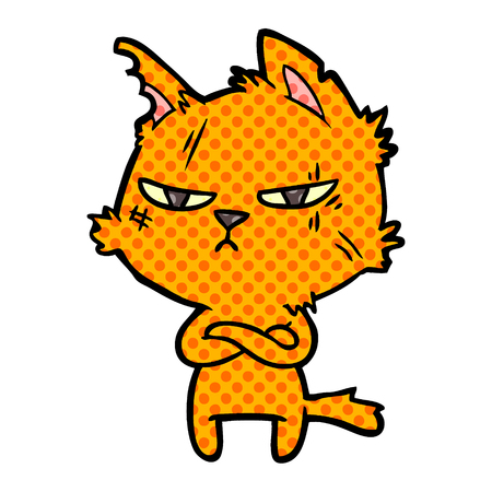 tough cartoon cat folding arms Vector illustration. 向量圖像