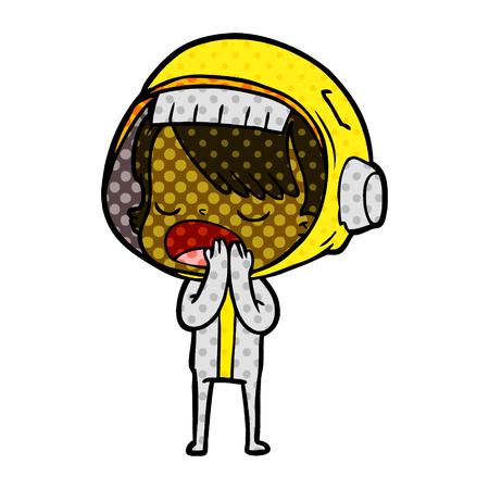 Mujer astronauta de dibujos animados explicando ilustración vectorial. Foto de archivo - 95661807