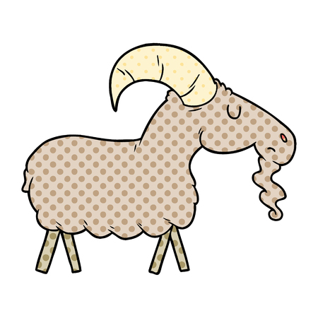 Cute cartoon goat illustration on white background.