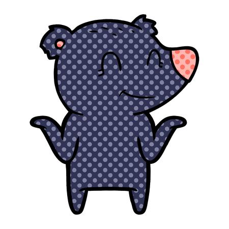 smiling bear shrugging shoulders Vector illustration.