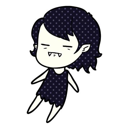 Cartoon vampire girl flying illustration on white background.