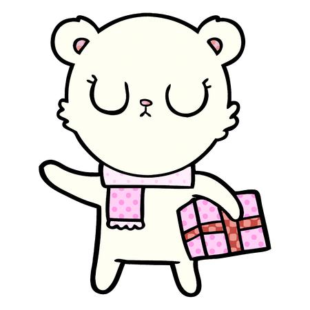 Peaceful cartoon polar bear with Christmas gift illustration on white background. Illustration
