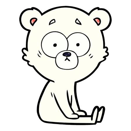 白い背景に神経質なホッキョクグマ漫画のイラスト。
