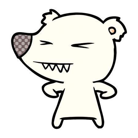 angry polar bear cartoon Vector illustration. Stock Vector - 95662582