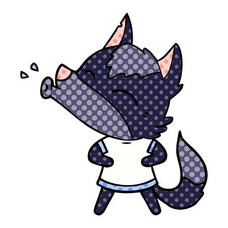 howling wolf cartoon Vector illustration. Foto de archivo - 95662737