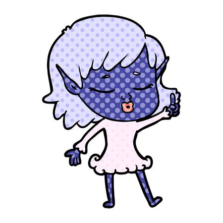 pretty cartoon elf girl with question Vector illustration. Ilustração