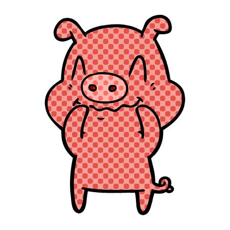 nervous cartoon pig Vector illustration. Ilustrace