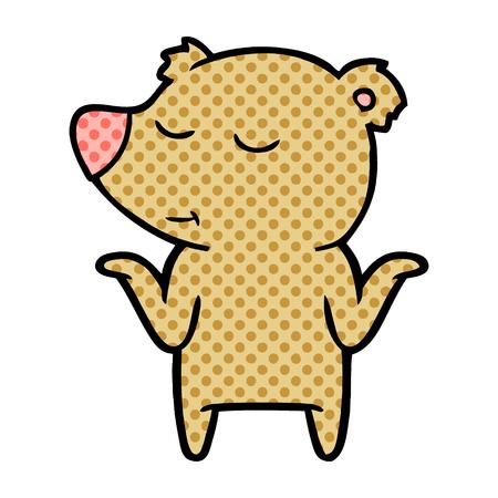 Ours de dessin animé heureux, haussant les épaules Banque d'images - 95662841
