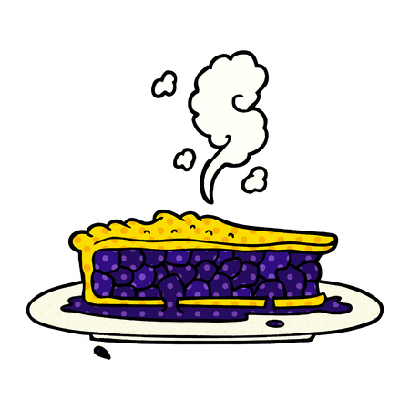 cartoon blueberry pie Vector illustration.