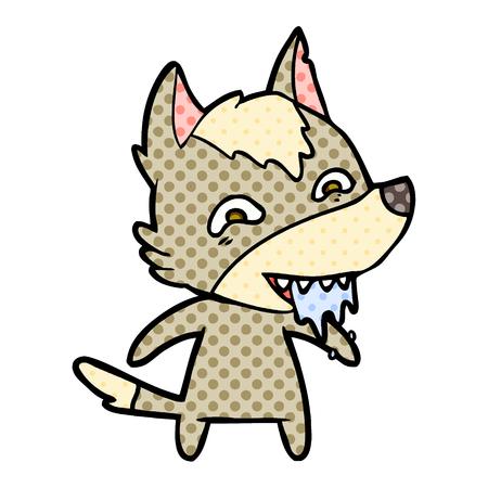 Cartoon hungry wolf illustration on white background.