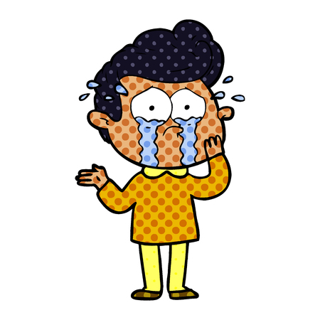 cartoon worried crying man Vector illustration.