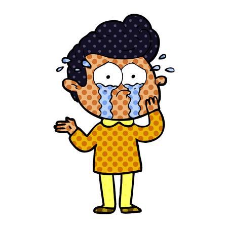 cartoon worried crying man Vector illustration.