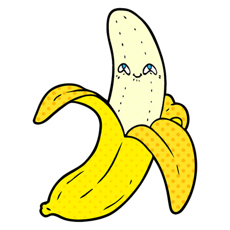 cartoon crazy happy banana Vector illustration.