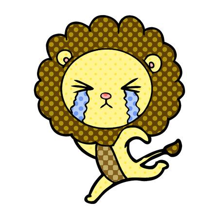 cartoon crying lion running away Vector illustration. Stockfoto - 95663065