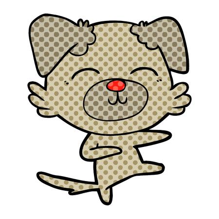 Cartoon dog kicking illustration on white background.  イラスト・ベクター素材