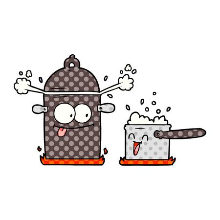 bubbling pans cartoon Vector illustration. Çizim