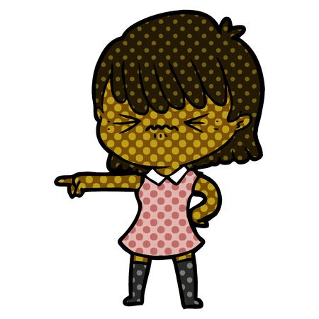 annoyed cartoon girl blaming Vector illustration. Ilustração