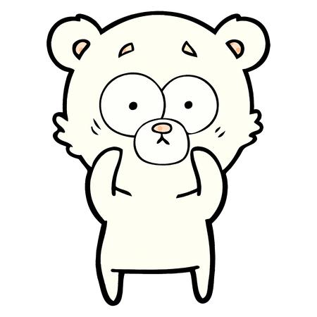 surprised polar bear cartoon Vector illustration.