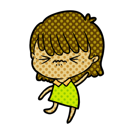 annoyed cartoon girl Vector illustration. Banco de Imagens - 95663146