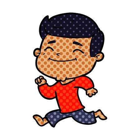 happy cartoon man running Vector illustration. Illustration