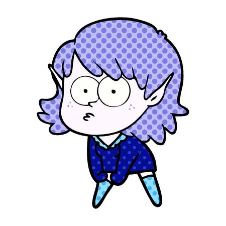 cartoon elf girl staring and crouching