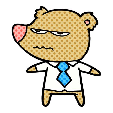 cartoon angry boss bear Vector illustration. Foto de archivo - 95663175