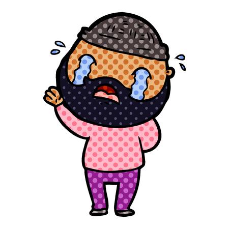 Cartoon bearded man crying illustration on white background.