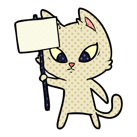 confused cartoon cat with protest sign