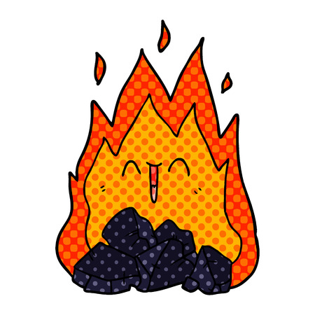 cartoon blazing coal fire Vector illustration. Иллюстрация