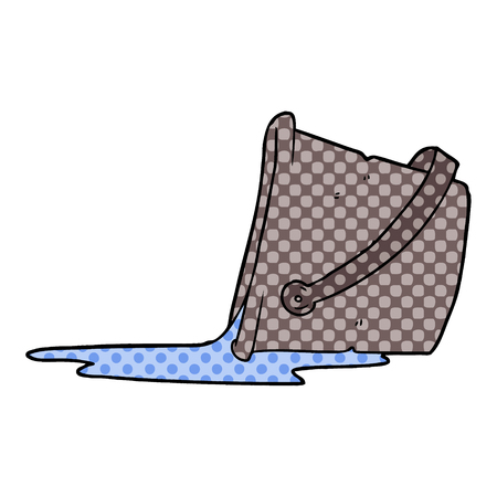 cartoon spilled bucket of water Vector illustration.